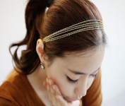 Leoy88 Women Tassels Head Chain Gift for Party Gold