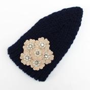 Women Elastic Knitted Headbands Wide Ear Warmer Turban Hairband Pearl Rhinestone Flower Headwear