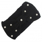 Women Elastic Knitted Headbands Wide Ear Warmer Turban Hairband Pearl Bow Headwear