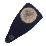 Winter Women Girls Knitting Elastic Turban Headband with Hair Bulb and Button Hair Accessories