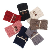 7Pcs Women Elastic Knitted Headbands Wide Ear Warmer Turban Hairband with Two Buttons Lace Headwear