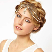 Leoy88 Crystal Flower Stretch Hair Chain Hair Band Perfect for Makeup