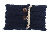 Women Elastic Knitted Headbands Wide Ear Warmer Turban Hairband with Two Buttons Lace Headwear