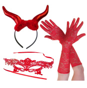 Red Devil Large Horns+ Lace Mask + Fingerless Gloves Halloween Party Fancy Dress