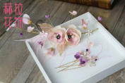 Pink Feather Fur Flower Crowns Tiara : ST14