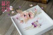 Pink Feather Fur Flower Crowns Tiara : ST14