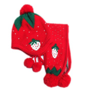 FEITONG Baby Hat Scarf Boys Girls Infant Children Strawberry Scarf Child Scarf Hats Caps
