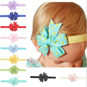 PETMALL 5pcs Chiffon flowers children baby girls hair accessories rubber bands barrettes girl headwear bow E010