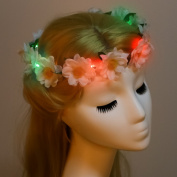 Valdler LED Little Dasy Flower crown Flower Crown Headband with Adjustable Ribbon for Halloween Party Ivory