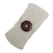 Baby Girls Boys Elastic Cute Big Button Knitted Headbands Turban Hairband Headwear