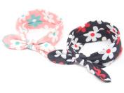 2Pcs Lovely Baby Girls Elastic Flower Printed Headbands Turban Knot Rabbit Hairband Headwear