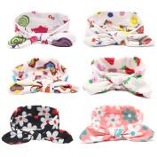 6Pcs Lovely Baby Girls Elastic Flower Printed Headbands Turban Knot Rabbit Hairband Headwear