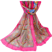 Datework Womens Printed Chiffon Long Section Of Scarf