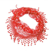Datework Lace Tassel Sheer Burntout Floral Print Triangle Mantilla Scarf