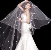 CIMC LLC 1 Tier Stars and Stars Voile Waltz Pencil 3M Head Yarn Edge Length Wedding Veil Bride Veil Trailing Veil Bride Headdress