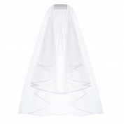 Uarter Wedding Veil Bridal Tulle Veils with Comb and Lace Ribbon Edge White