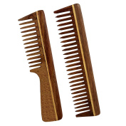 Professional Hair Comb, Set of 2 - Handmade Rosewood - Anti Dandruff, Non-Static and Eco-friendly