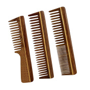 Handmade Hair Care Wooden Tooth Anti Static Comb, Set of 3, Made of Sheesham