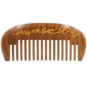 Natural Green Sandalwood Wide Tooth Massage Comb, No Static Pocket Wooden Comb 4.7""