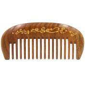 "Natural Green Sandalwood Wide Tooth Massage Comb, No Static Pocket Wooden Comb 4.7"""