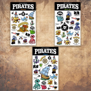 Halloween 3 sheet Dizao Tattoo. Pirates. Temporary Metallic Tattoos
