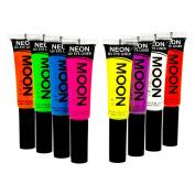 Moon Glow - Blacklight Neon Eye Liner 10ml Set of 8 colours – Glows brightly under Blacklights / UV Lighting!