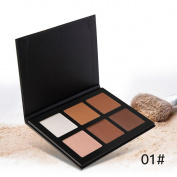 6 Colours Oil Control Trimming Pressed Powder Palette, #1