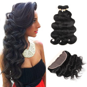 ALOT Hair 100% Unprocessed Brazilian Real Human Hair 3 Bundles with 13×4 Ear to Ear Lace Frontal Closure, Body Weave Hair Extensions , Natural Colour Weft