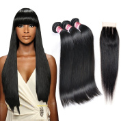 Fabeauty 7A Grade Straight Weave Human Hair Weft 3 Bundles with Three Part Clousure 100% Unprocessed Peruvian Virgin Hair Straight Weave Mixed Length Natural Black 1B#