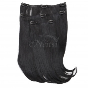 Neitsi 36cm Straight Clip in/on Hair Weft Synthetic Hair Extensions 3 Pcs/set (Black