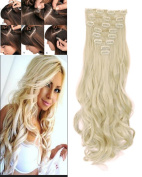 S-noilite Long Natural 24 Inch(61cm) Curly 170g 8 Pieces Full Head Clip in Hair Extensions for Girl Lady Women