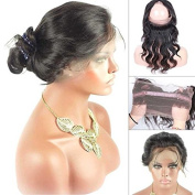 Brazilian Body Wave 360 Lace Band Frontal Closure with Natural Hairline for Black Women Natural Colour 30cm