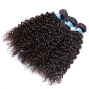 BLY Hair Deep Curly Grade 6A Malaysian Virgin Remy Human Kinky Curly Hair Extension Weave For Black Women 3 Bundles 300g - Natural Black Mixed-Length 8 10 30cm