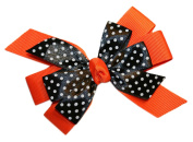 Webb Direct 2U Girls Black Dotted GrosGrain Hair Bow French Clip Orange 8008FC