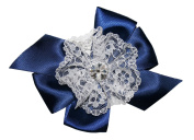 WD2U Girls Vintage Satin & White Lace Hair Bow Alligator Clip Navy Blue 6038A