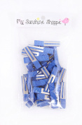Partially LINED Double Prong Craft Alligator Clips - 25 Hair Clips - Royal Blue