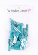 Partially LINED Double Prong Craft Alligator Clips - 25 Hair Clips - Jade
