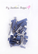Partially LINED Double Prong Craft Alligator Clips - 25 Hair Clips - Navy