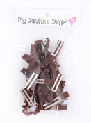 Partially LINED Double Prong Craft Alligator Clips - 25 Hair Clips - Brown