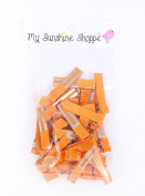 Partially LINED Double Prong Craft Alligator Clips - 25 Hair Clips - Orange