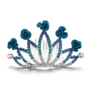 One One Bridal Handmade Wedding Hair Comb Series for Women Bridal,Lotus Crown,Blue