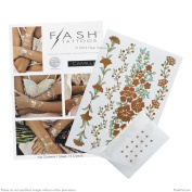 Flash Tattoos- CAMILLE- Authentic Metallic Temporary Jewellery Tattoos (Rose gold & mint) with crystals