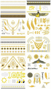 Tato High Gloss Metallic Gold Silver Tattoos Stickers 10 Different Sheets TSGD001