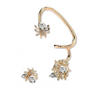 CIShop Unique Asymmetric sparkling Spider Diamond Earrings Stud Ear Wrap Cuff Earring Gothic Earcuff Punk Rock Earring