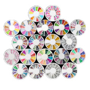 eshion 20 Wheel Manicure Nail Art Tips 3D Nail Stickers Manicure Wheel With Diffeent Styles