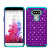 Voberry® Women Girls Bling Hard Soft Rubber Impact Armour Case Back Hybrid Cover For LG G5