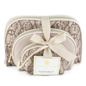 Adrienne Vittadini Women's three Dome Shaped Cosmetic Bags Set Natural Python Print
