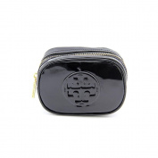 Tory Burch Patent Zip Cosmetic Case, Black
