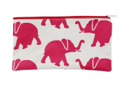 Cosmetic Travel Bag Pouch and Pen/Pencil Holder For School - Light Magenta Elephants- 27cm x 14cm
