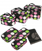 JAVOedge Printed Travel Storage Cosmetic, Makeup Organiser Bag (3 Sizes Set